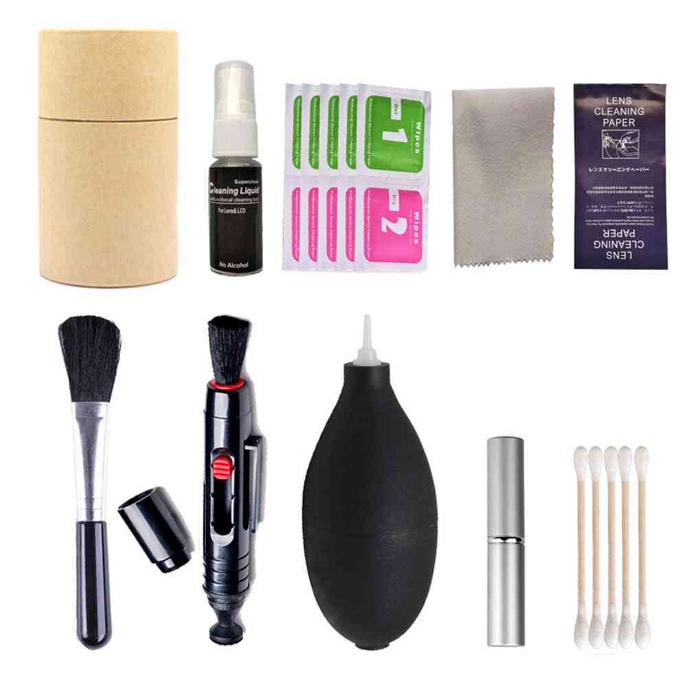 Digital Camera Cleaning Kit -brush, Air Blower, Wipes And Cloth
