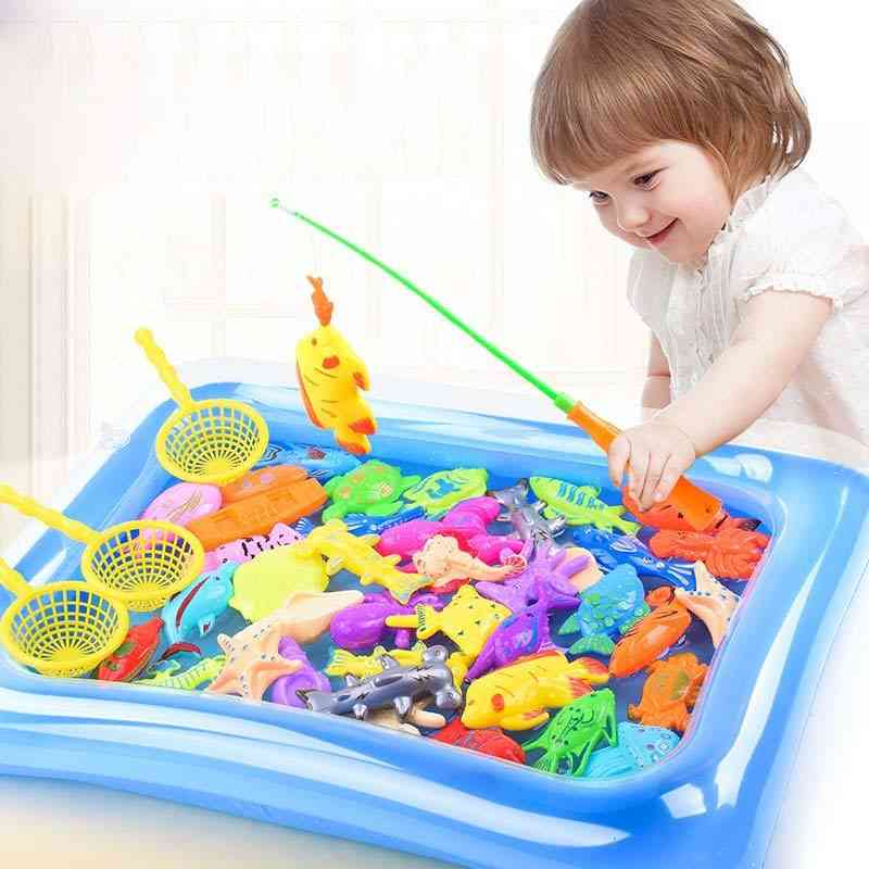 Kids Fishing Toy, Play Water Baby, Magnetic Fish Pool Indoor Parent-child Game