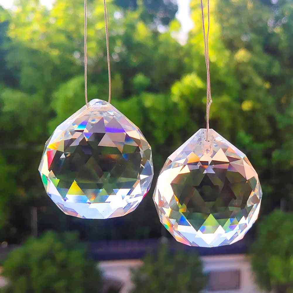 Crystal Glass Ball Chandelier Prisms- Diy Bead Curtain Hanging Ornament