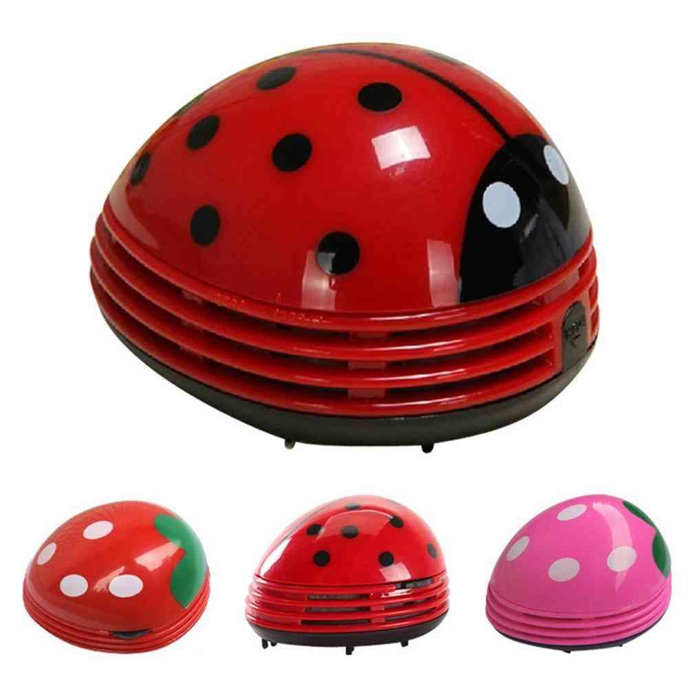 Cute Portable Beetle Ladybug Cartoon - Mini Desktop Vacuum Desk Dust Cleaner