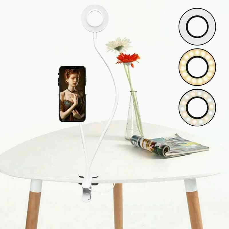 Long Arm Selfie Universal Holder - With 24-leds Ring Flash Usb Clip Camera