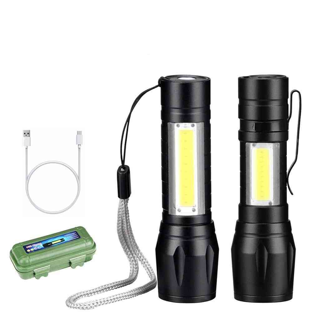 Rechargable And Portable Led Flashlight- Zoomable Torch