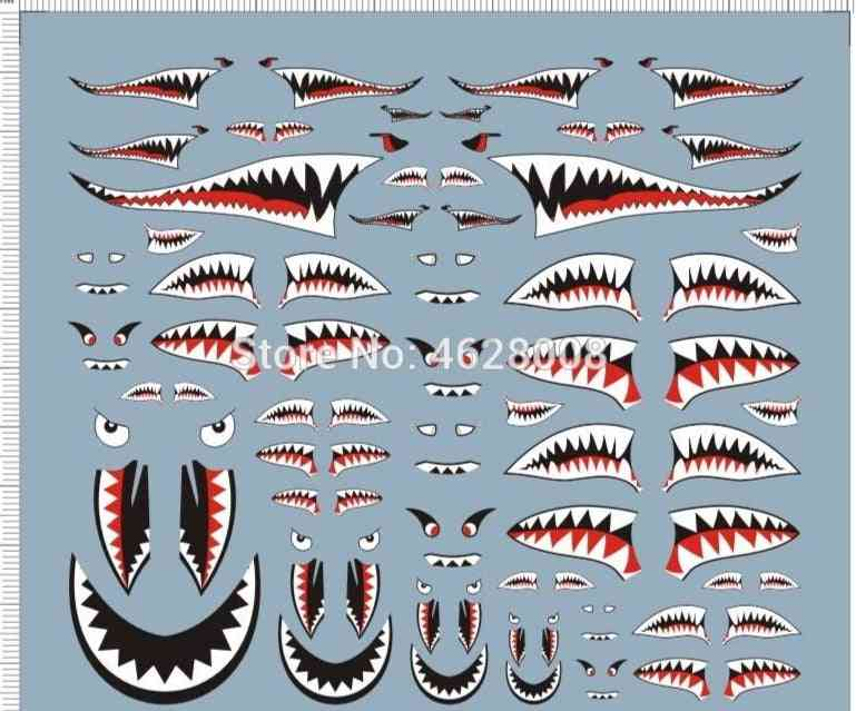 1/144 1/72 1/48 1/32 Scale Ussaf Airforce Airplane Shark Jaw Model Water Slide Decal