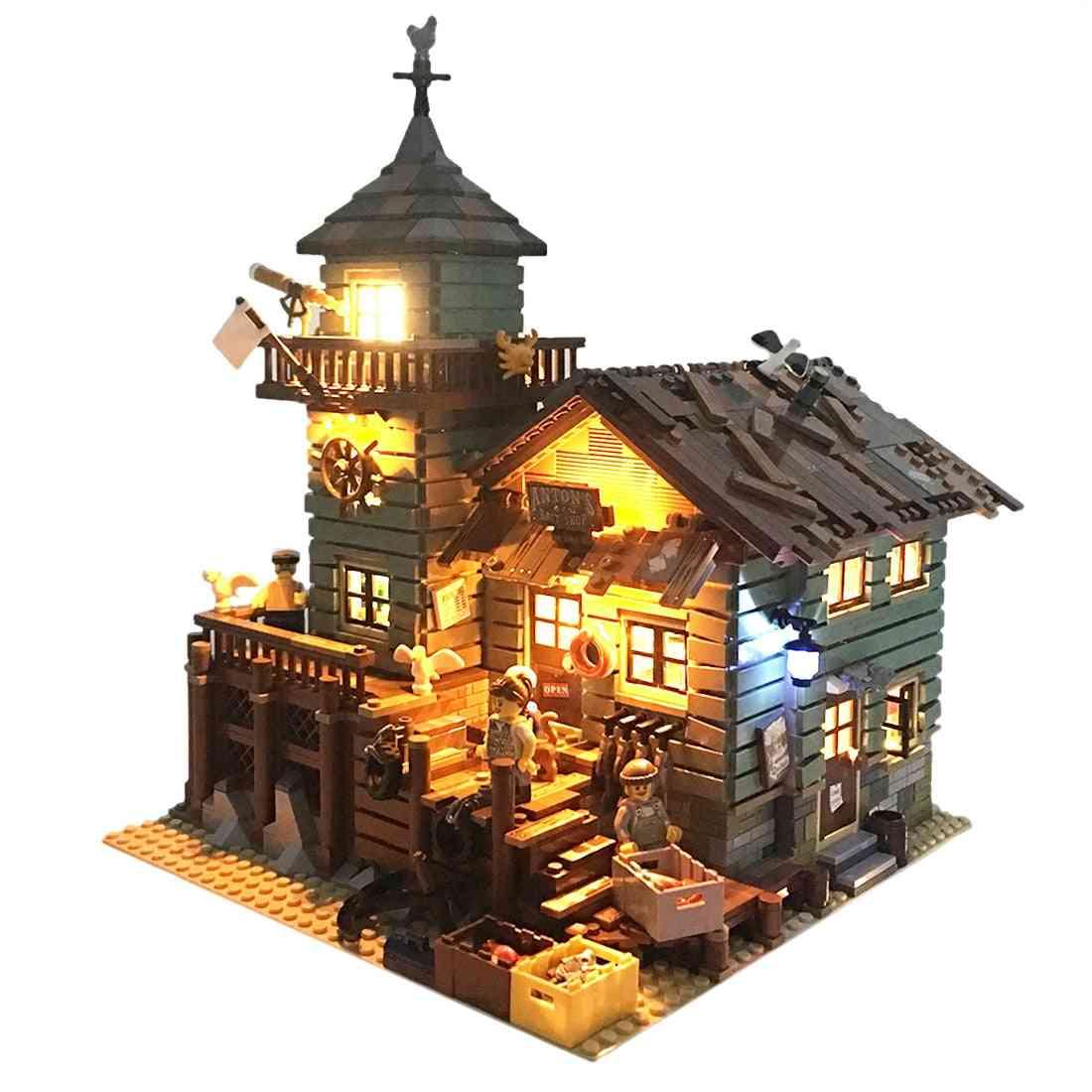 Diy Building Blocks, Usb Luminous Led Lighting Kit For Fisherman's Hut