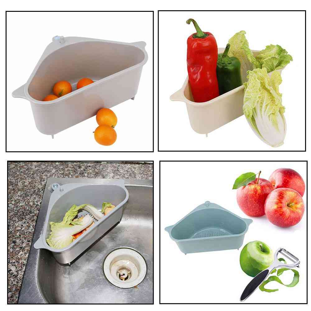 Vegetable Fruit  Triangular Drainer Basket With Suction Cup
