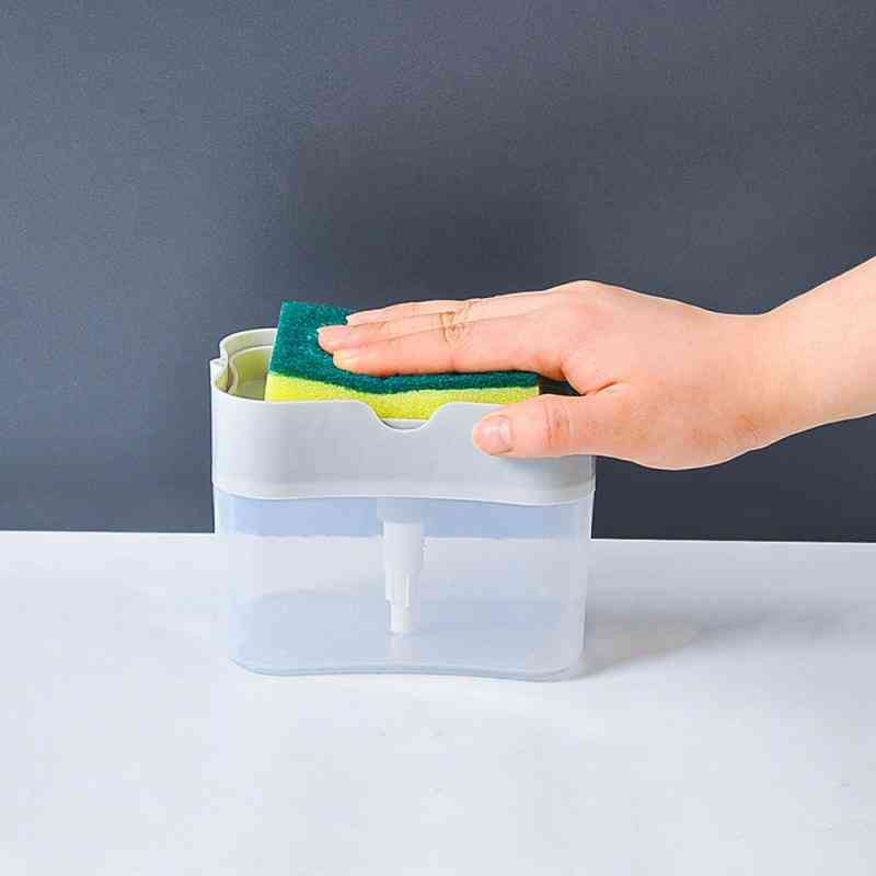 2in1, Double Layer Soap Dispenser And Sponge Caddy-push Type