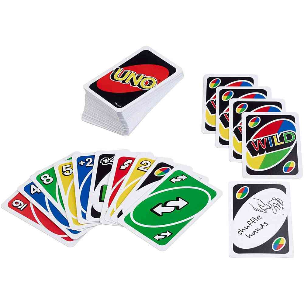 Mattel Games Uno Series Card For Family Party Board Classic Fun Poker Playing