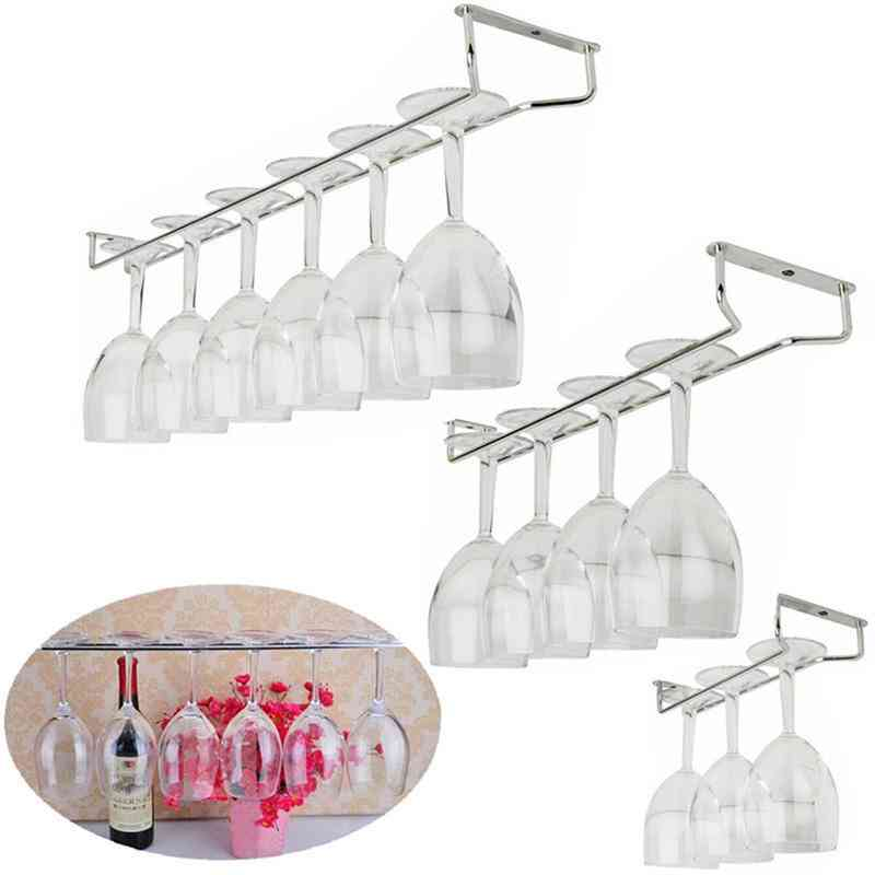 High Quality Useful Stainless Steel Wine Rack Glass Holder Hanging - Hanger Shelf Perfect Kitchen Tools For Bar