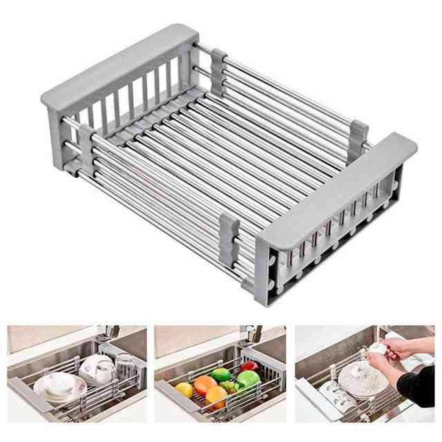 Stainless Steel, Retractable And  Telescopic-kitchen Sink Drain Basket