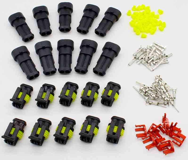 10 Kit 2 Pin Way Waterproof Electrical Connector Plug