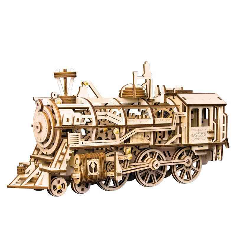 Robotime Movable Locomotive By Clockwork- Wooden Building Kits Toy