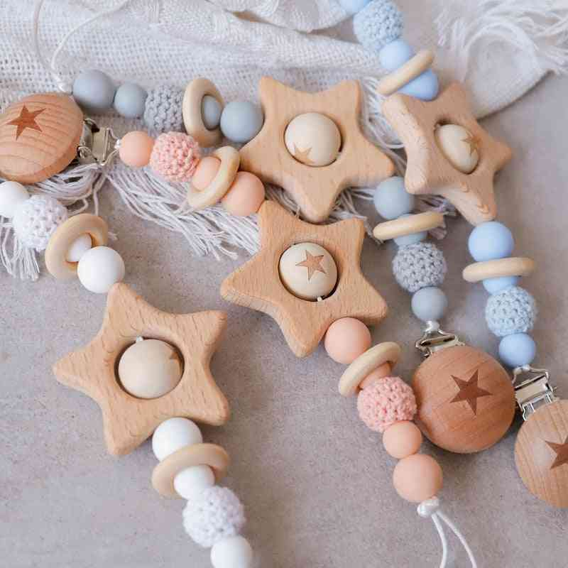 Baby Teether Pacifier Chain, Clip With Wooden And Crochet Geometric Beads