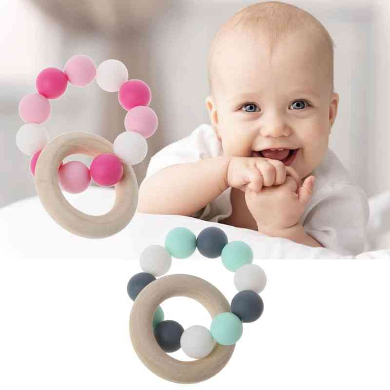 Baby Nursing Bracelets - Wooden Teether Silicone Chew Beads Teething Rattles