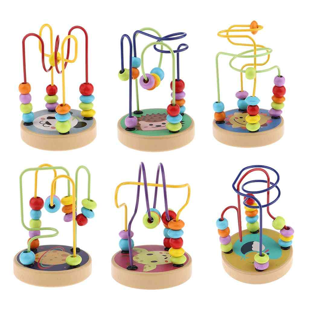 Colorful Cartoon Base-wooden Abacus Bead, Maze Roller Coaster, Activity For