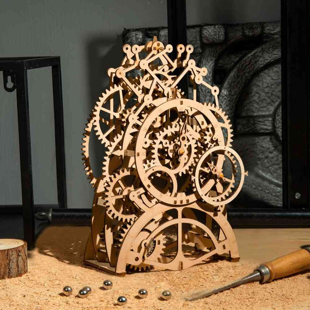 3d Wooden Mechanical Puzzle  Model Building Kits Laser Cutting Action By Clockwork For