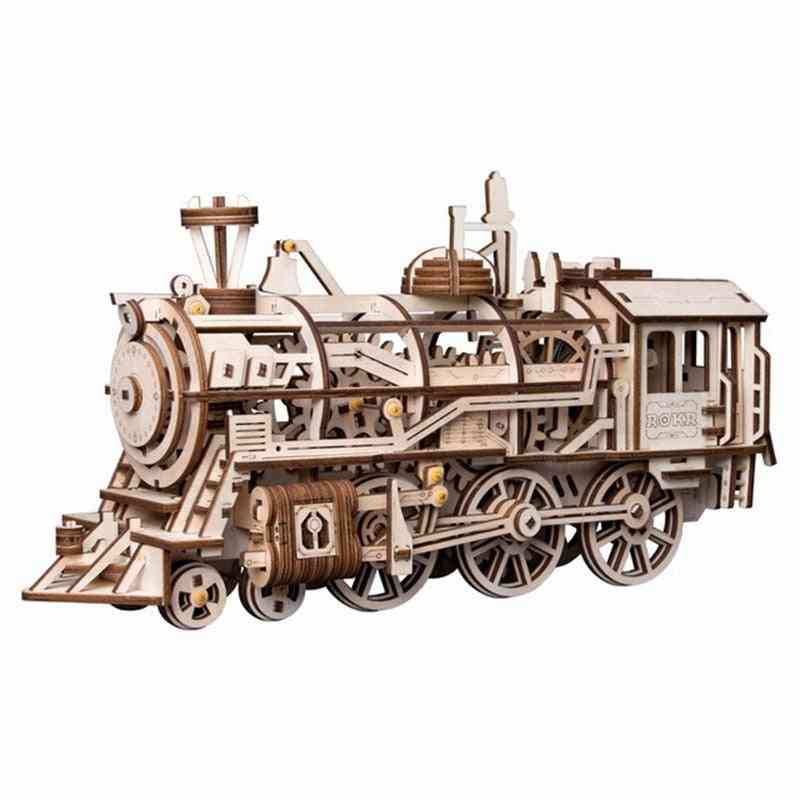 3d Wooden Puzzle Game - Laser Cutting Mechanical Model Assembly Toy