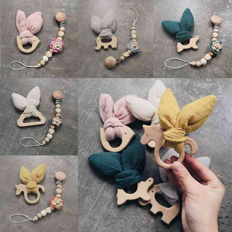 Bunny Ear Baby Teether & Pacifier Chains- Beech Wood Rodent Play Toy