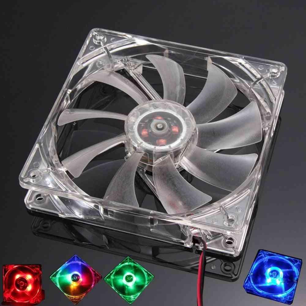 Quad 4 Led Light Pc Computer Cooling Fan