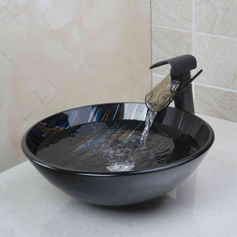 New Glass Single Handle Tap+bathroom Sink Washbasin Glass Hand-painted Lavatory Sink Combine Set Torneira Mixer Faucet