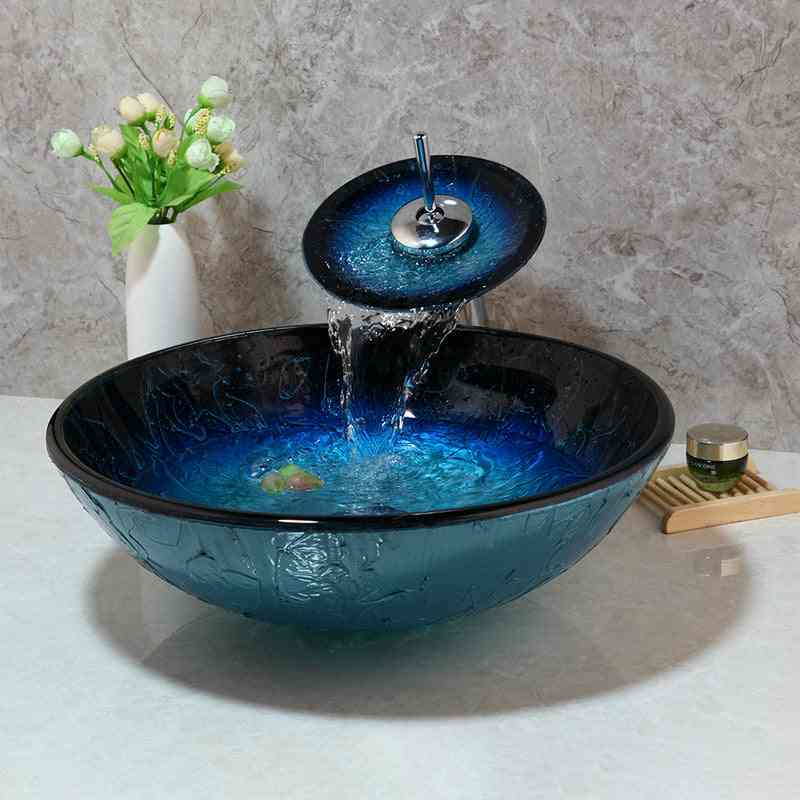 Hand-painted Blue Tempered Glass Basin Sink Faucet Set - Bathroom Countertop Washroom Vessel Vanity Sink Mixer