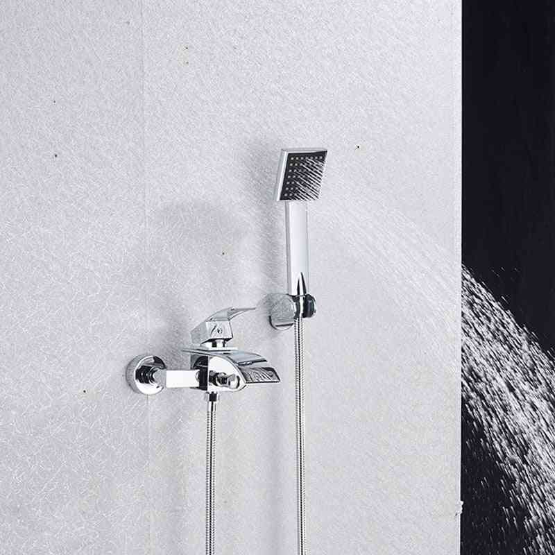 Wall Mounted, 2-way Shower Head And Waterfall Tub Spout