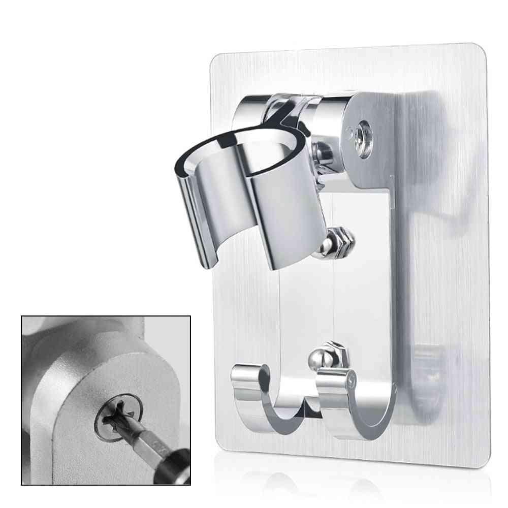 Shower Head Holder - Wall Mount Bracket With 2 Hanger Hooks