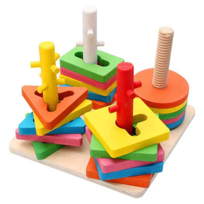Pillars & Geometric Shapes Sorting Nesting Stack Toy - Puzzle Educational For
