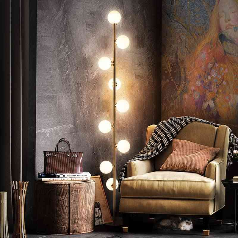 Modern Led Living / Bedroom Room Standing - Glass Ball Nordic Floor Lamps