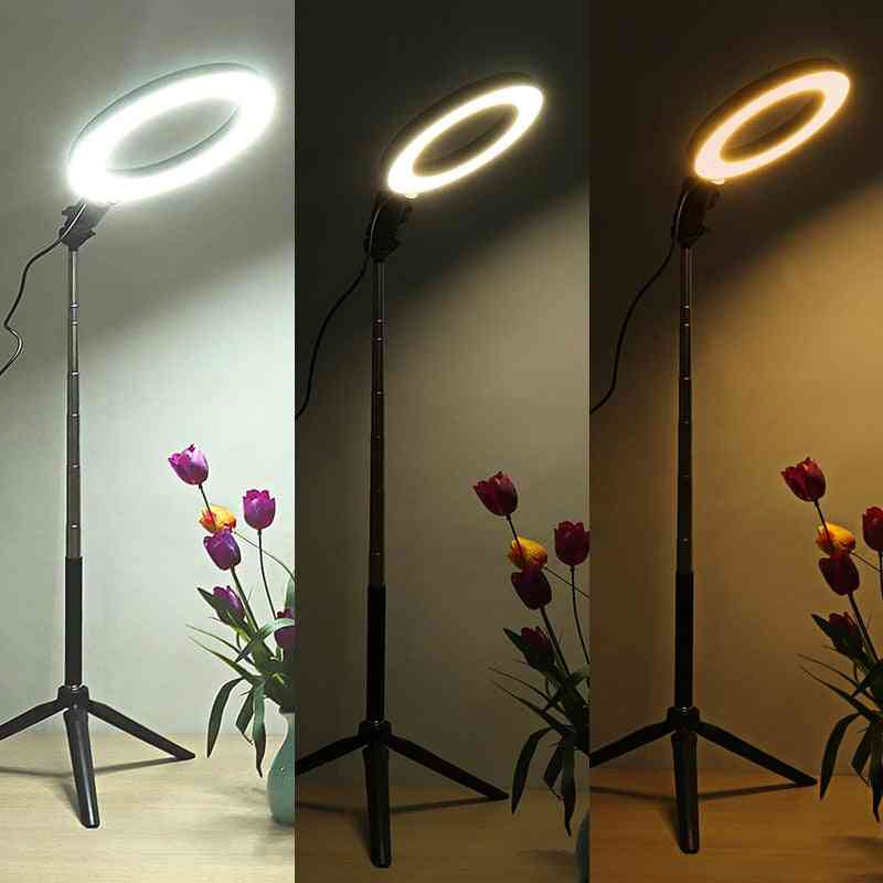 3500-5500k Photography Dimmable Led Selfie Video, Live Photo Studio Lamp With Phone Holder Usb Plug
