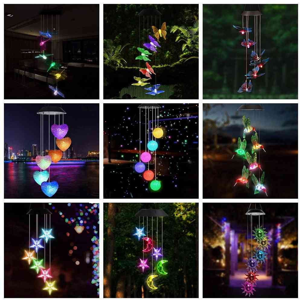Led Solar Wind Chime - Changing Waterproof Hanging Solar Light For Home Garden