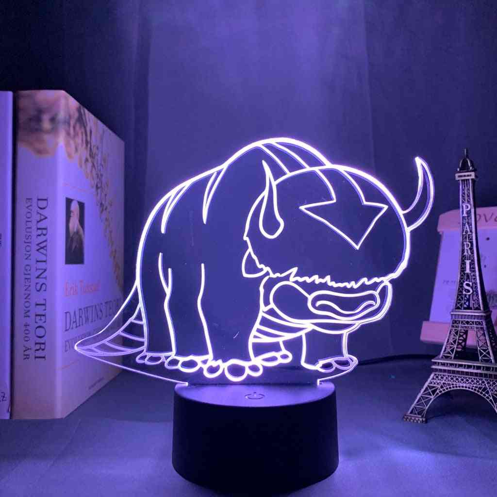 Acrylic 3d Lamp Avatar The Last Airbender Nightlight For Kids, Room Decor The Legend Of Aang Appa Figure Table Night Light