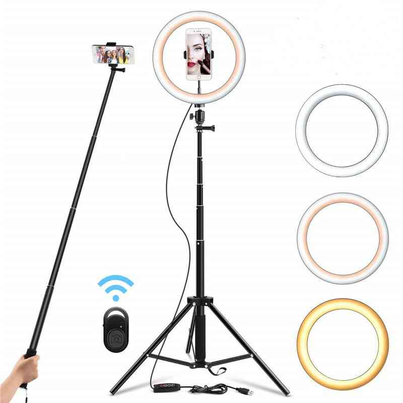 Selfie Ring Light Dimmable Tripod Stand - Cell Phone Holder For Video Photography