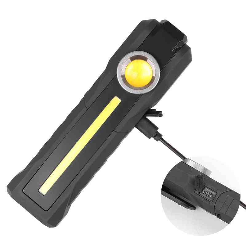 5500lm Bright Led Work Light And Built-in 18650 Battery Adjust Head Hook Tail Magnet