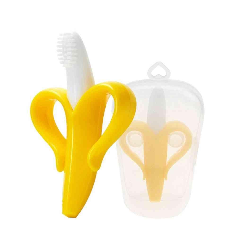 Baby Teether, Silicone Banana Shape Toothbrush