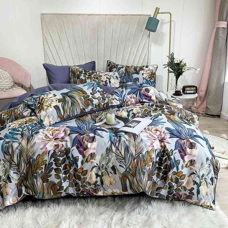 Hd Printed Premium Egyptian Cotton, Silky, Soft Duvet Cover For Family King / Queen Size Bedding Set