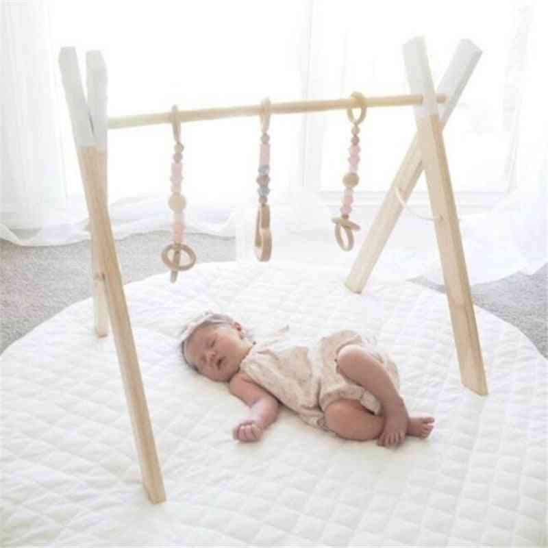 Baby Ring Pull Play Gym - Wooden Frame Toy Fors Room Decor