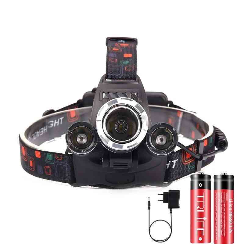 Powerful Led Headlight Headlamp - Lumens Flashlight Torch, 18650 Battery For Camping And Fishing