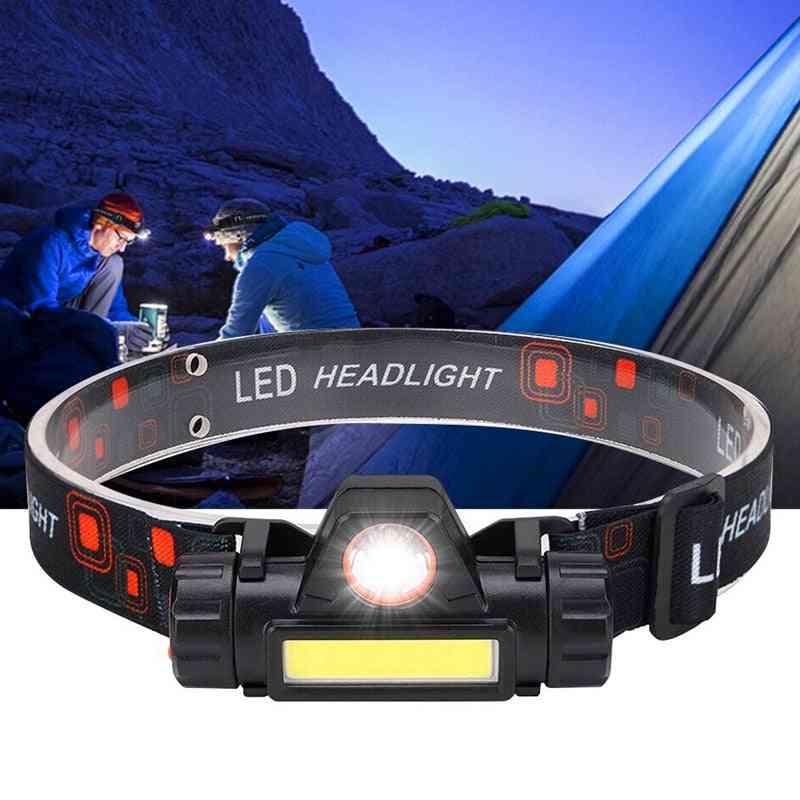 Portable Mini Flashlight- Headlamp  Built-in 18650 Battery