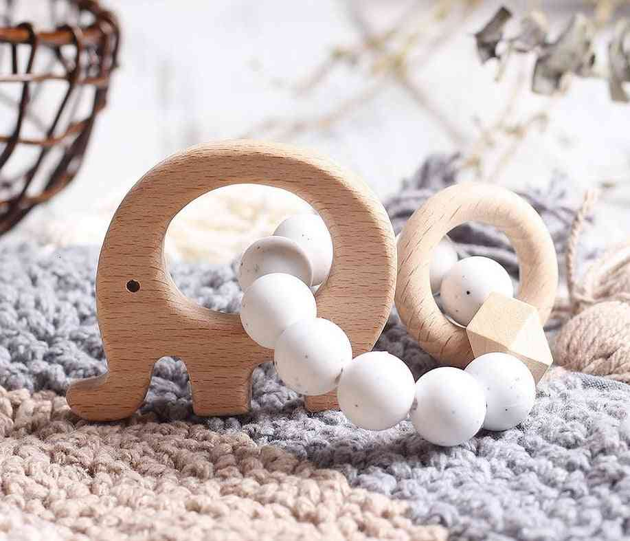 Natural Beech Wood With Silicone Beads, Hand Weave Teether/bracelet