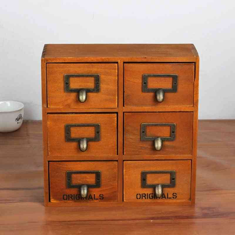 Retro Style, Wooden Storage Cabonet With With 6 Drawers
