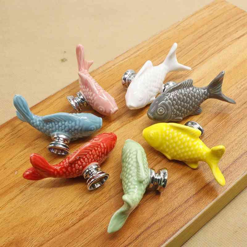 Colorful Ceramic Fish Cabinet Knobs / Door Pull Handles