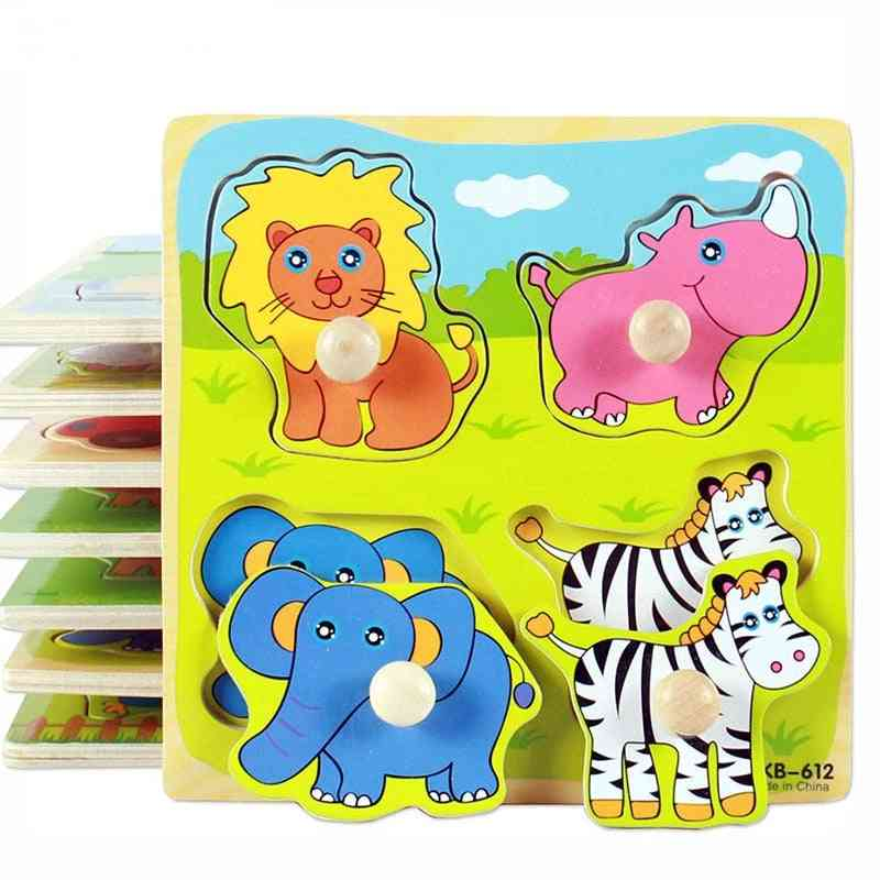 Hand Grab Board Puzzle Wooden For - Cartoon Animal Fruit Wood Jigsaw Kids Baby Early Educational Learning Toy