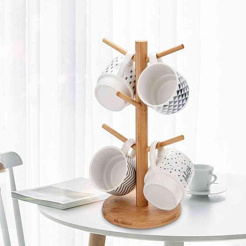 Tree Mug Glass Storage Rack Bamboo Cup Holder