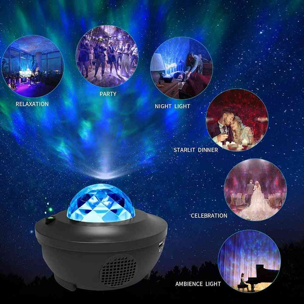 Bluetooth Colorful Romantic Starry Sky Projector Night Light With Music Speaker & Remote Control