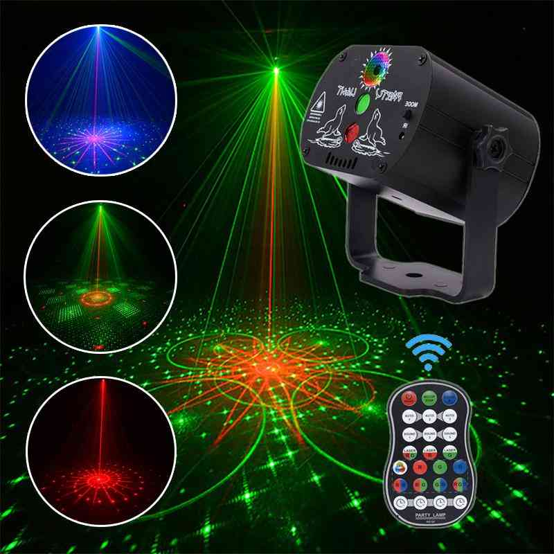 Usb Rechargeable, 60 Patterns Led-laser Projecor With Remote Control