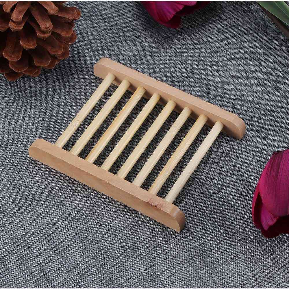 Wooden Natural Bamboo Soap Dishes Tray Holder Storage Soap Rack - Plate Box Container Portable Bathroom Soap Dish Storage Box