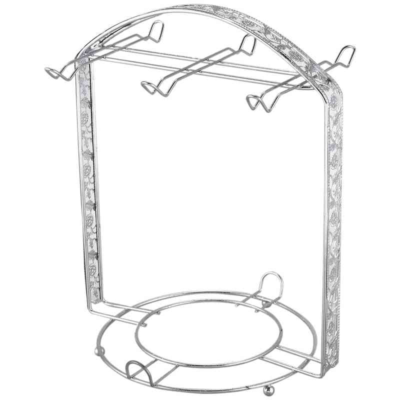 Cups And Saucers Metal Stand Holder (silver)