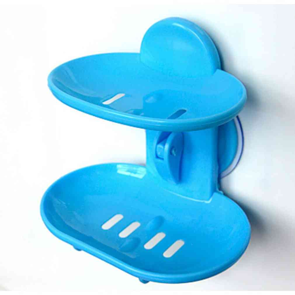 Double Layers Bathroom Soap Dishes Holder Rack - Strong Suction Cup Type
