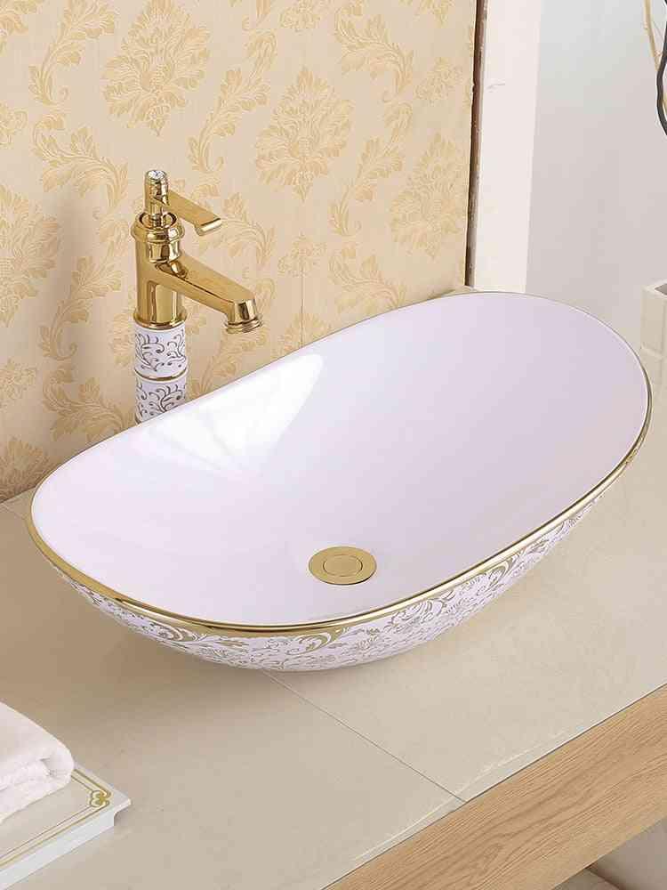 Ceramic Above Counter Basin, Round European Art Wash Basin For Home