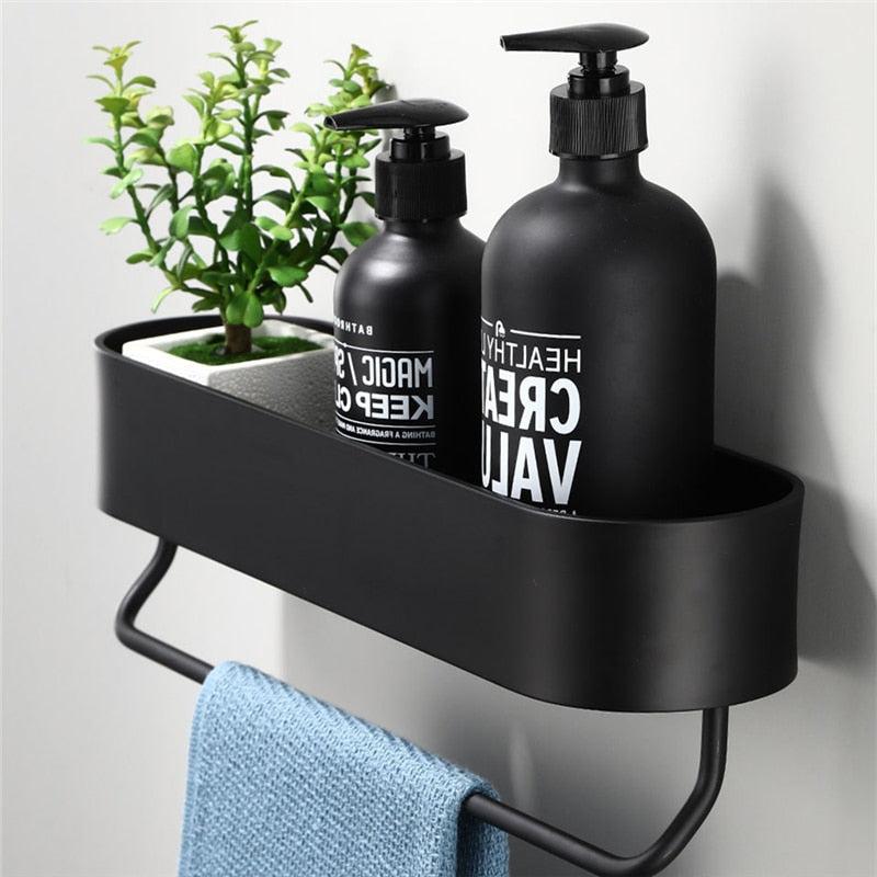 30-50 Cm Space Aluminum Black Bathroom Shelves, Kitchen Wall Shelf Shower, Storage Rack Bathroom Accessories